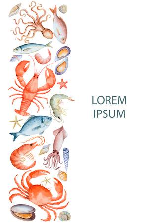 Aquarellsatz Meeresfrüchte vom Hummer, Krabbe, Fisch, Kalmar, Krake, Garnele, Oberteile auf einem weißen Hintergrund für Ihr Menü oder Design, Vektorillustration. Vektorgrafik