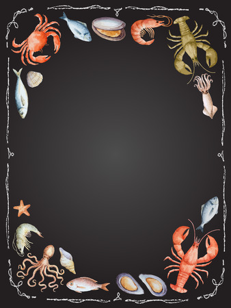 Watercolor set of seafood from lobster, crab, fish, squid, octopus, shrimp, shells on chalk Board for your menu or design, vector illustration.