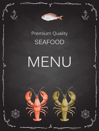 Aquarel set van vis uit kreeft, krab, vis, inktvis, octopus, garnalen, schelpen op krijt raad voor uw menu of ontwerp, vector illustratie.