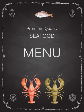 octopus: Watercolor set of seafood from lobster, crab, fish, squid, octopus, shrimp, shells on chalk Board for your menu or design, vector illustration. Illustration