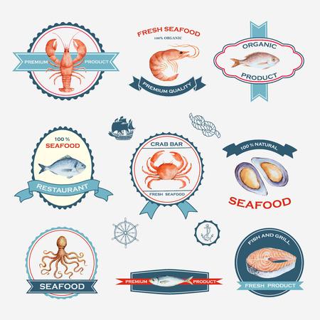 Aquarel set etiketten en symbolen op een witte achtergrond voor uw ontwerp, vector illustratie. Stock Illustratie