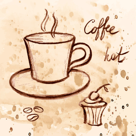 Vector sketch illustration, coffee and cake on a watercolor background. Vector