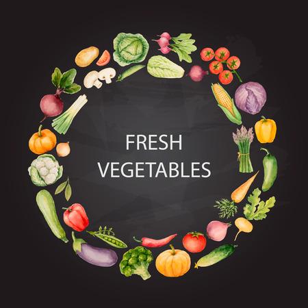 Set de légumes à l'aquarelle, dessin avec chalk.Template pour votre conception à la main. Vector illustration. Banque d'images - 40228381