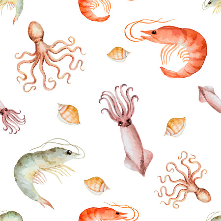 Watercolor seamless pattern with seafood on white background.  Ilustração
