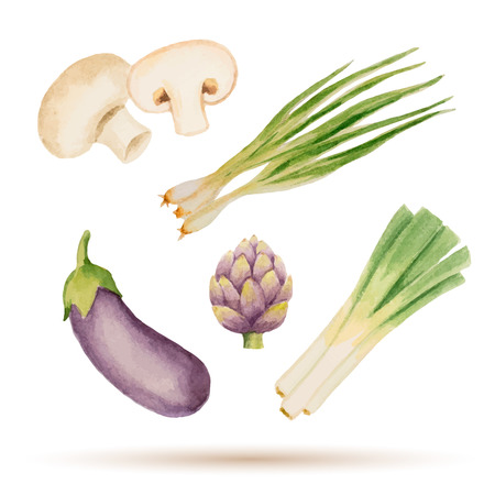 Set of watercolor vegetables,mushrooms, eggplant, artichoke, leek, onion. Vector illustration.