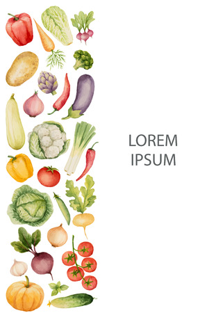 sec: Set of watercolor vegetables.Template for your design. Vector illustration.