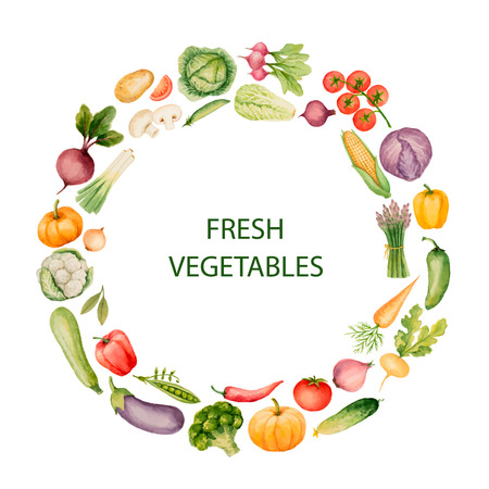 sec: Set of watercolor vegetables.Template for your design. Vector illustration.