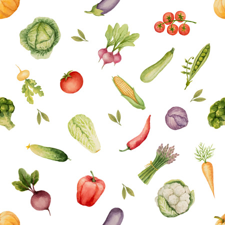 Watercolor seamless pattern of vegetables Ilustração
