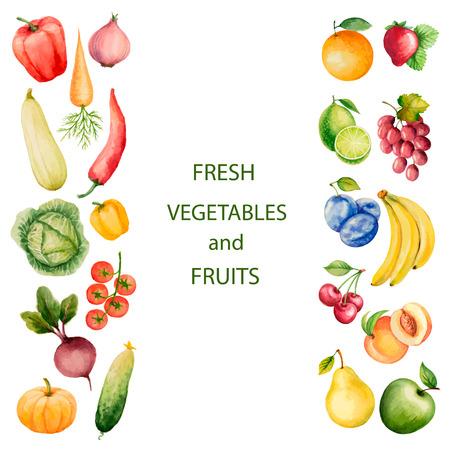 Conjunto de vehículos acuarela y frutas.