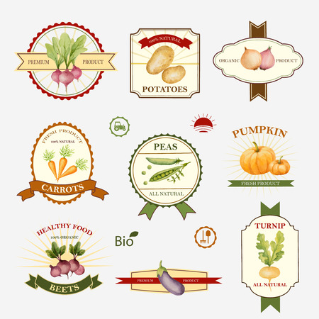 Vegetables, Set Of Label Design And Templates, Vector Illustration ...