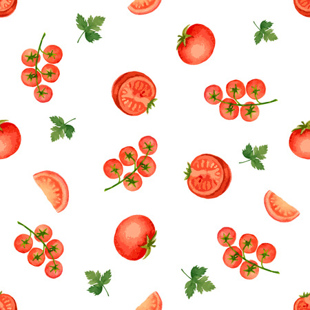 Watercolor seamless pattern of tomato, vector illustration.