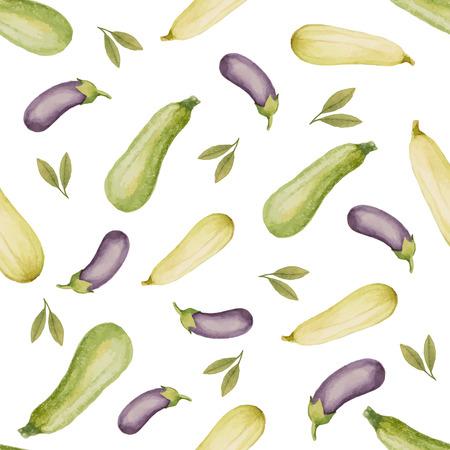 zucchini: Watercolor seamless pattern of zucchini, eggplant, vector illustration.