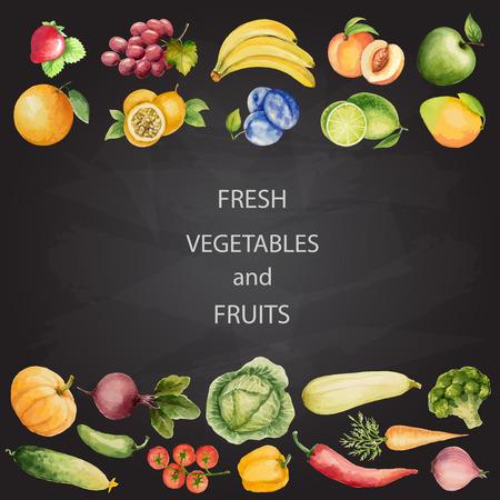 Sada akvarel zeleniny a ovoce, ručně vyráběné kreslení s chalk.Template pro váš návrh. Vektorové ilustrace. Ilustrace