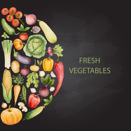 Set of watercolor vegetables,handmade drawing with chalk.Template for your design. Vector illustration. Ilustração