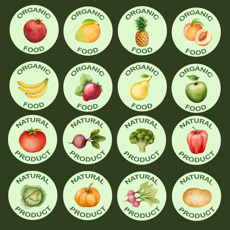 fresh colors: Watercolor set of icons vegetables and fruits, vector illustration.