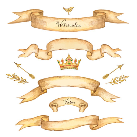 Watercolor set of ribbons for your design, vector illustration. Vettoriali