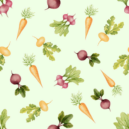 Watercolor seamless pattern of carrots, beets, radishes, vector illustration.