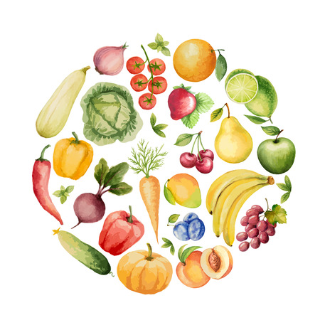 draw hands: Set of watercolor vegetables and fruits.Template for your design. Vector illustration.