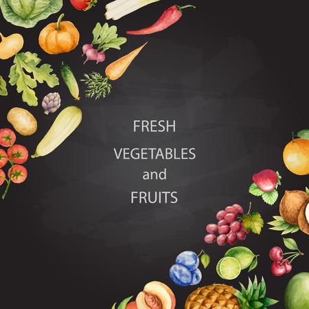 一連の水彩画の野菜や果物、ハンドメイド チョークで描きます。あなたのデザインのテンプレートです。ベクトルの図。