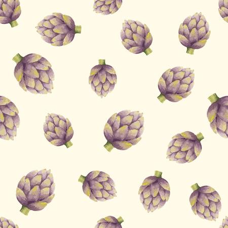 artichoke: Watercolor seamless pattern of artichoke, vector illustration.