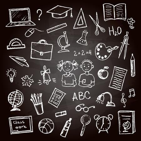 Ensemble de signe et le symbole école griffonne elements.Hand-dessinée crayon de couleur sur la craie Conseil, illustration vectorielle.