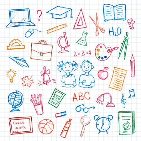 niños con lÁpices: Conjunto de muestra de la escuela y el símbolo doodles elements.Hand-dibujado lápiz de color sobre fondo blanco, ilustración vectorial.