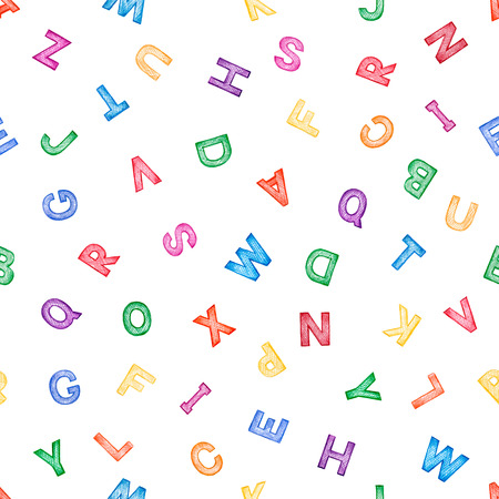 Childrens colorful ABC for your design,seamless pattern on a white background. Vector illustration.