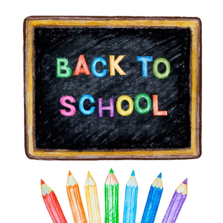 colour pencil: Welcome back to school.Pencil on chalk Board vector illustration.