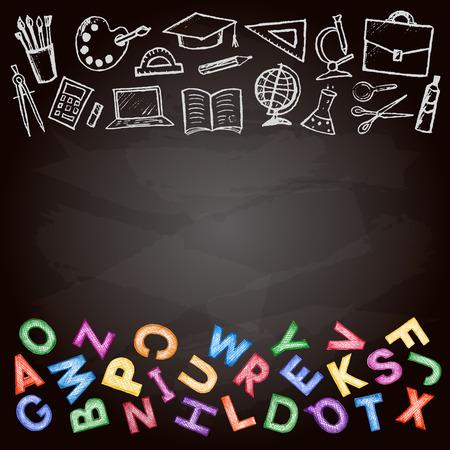 Set di scuola segno, simbolo doodles elementi e colorata ABC. Matita colorata su una scuola disegnati a mano gesso Consiglio, illustrazione vettoriale.