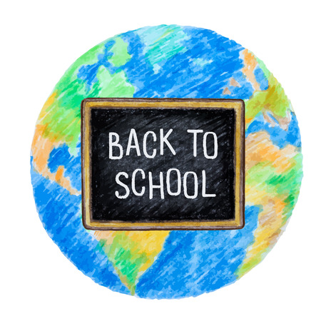 school globe: Welcome back to school. Globe and school chalk Board, vector illustration. Illustration
