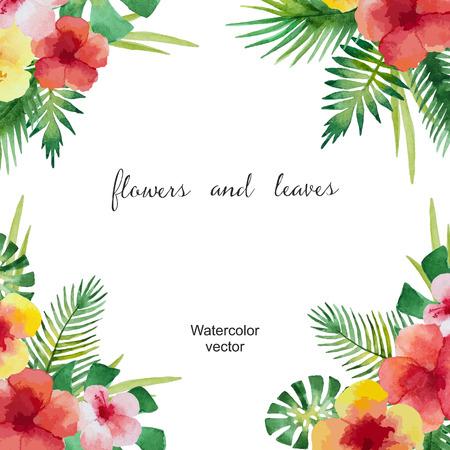 Aquarell quadratischen Rahmen aus grünen Blättern und Blumen für Ihr Design. Vektor-Illustration. Standard-Bild - 41254766