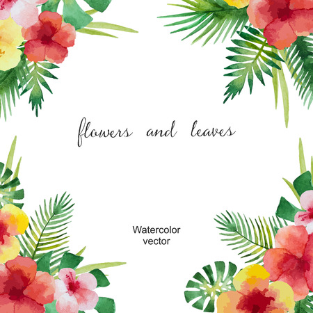 Watercolor square frame of green leaves and flowers for your design. Vector illustration.