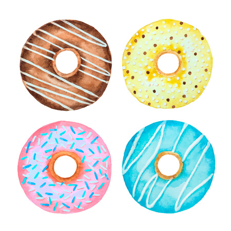 Watercolor set of donuts isolated on a white background for your design, vector illustration.