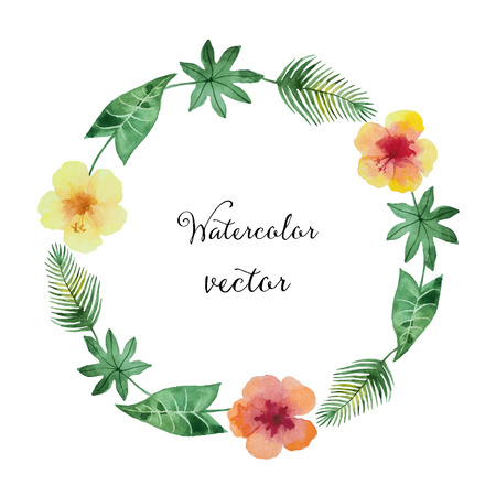 big island: Watercolor round frame of green leaves and flowers for your design. Vector illustration. Illustration