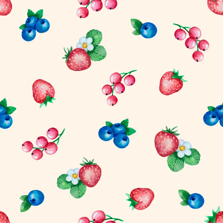 currants: Watercolor seamless pattern of ripe berries, currants, strawberries, blueberries. Vector illustration. Illustration