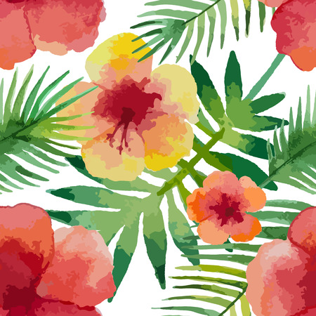monstera leaf: Watercolor seamless pattern with hibiscus flowers and exotic leaves on white background, vector illustration. Illustration