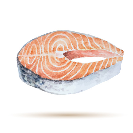 meat food: Watercolor steak fish isolated on white background. Fresh organic seafood. Vector illustration.