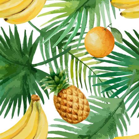 Watercolor naadloze patroon met fruit en exotische bladeren op een witte achtergrond, vector illustratie.