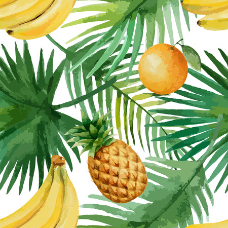 tropical fruit: Watercolor seamless pattern with fruits and exotic leaves on white background, vector illustration.