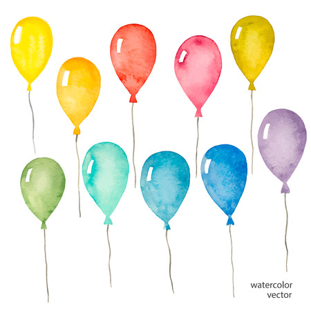 Set of colorful balloons inflatable, watercolor, vector illustration. Ilustracja