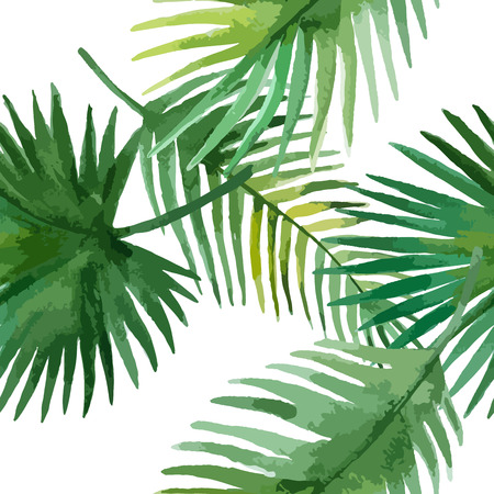 Watercolor seamless pattern with  exotic leaves on white background, vector illustration.