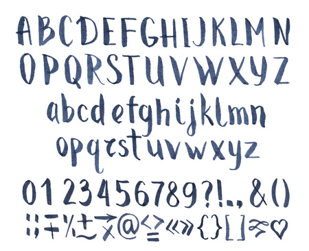 Drawing vector calligraphic font with numbers and symbols.
