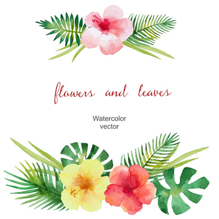 Watercolor bouquet of hibiscus flowers and tropical green leaves, isolated on white background. Vector illustration.