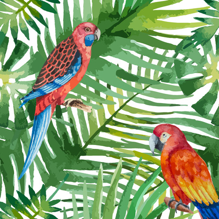 big island: Watercolor seamless pattern with parrot and exotic leaves on white background, vector illustration.