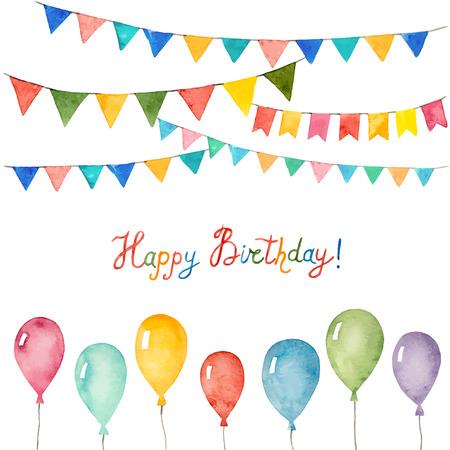 Aquarel set voor vakantie, verjaardag ballonnen, vlaggen, vector illustratie.