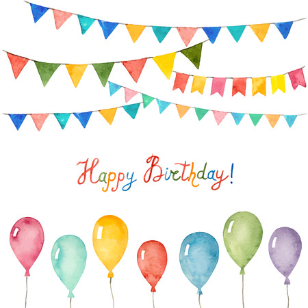 Watercolor set for holiday, birthday balloons, flags,  vector illustration.
