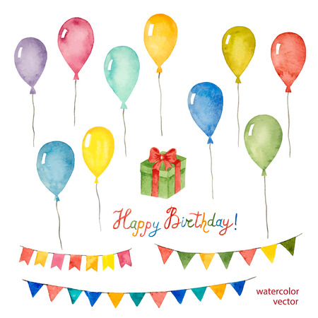 cute: Watercolor set for holiday,birthday balloons, flags, gift, vector illustration.