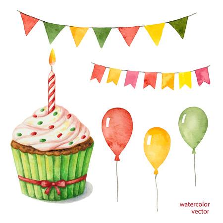 cake: Acuarela establece para fiestas, globos del cumpleaños, banderas, pastel, ilustración vectorial. globos, banderas, de regalo, ilustración vectorial.