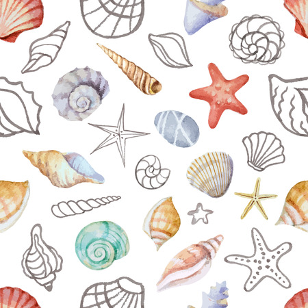 Watercolor seamless pattern with sea shells  Illustration