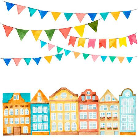 Aquarel van het huis en vlaggen op wit wordt geïsoleerd Stockfoto - 41976083